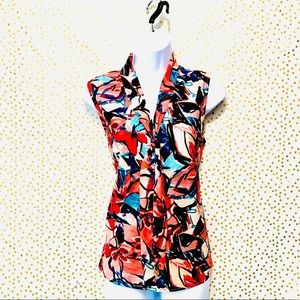 Kasper Floral Blouse With Front Tie